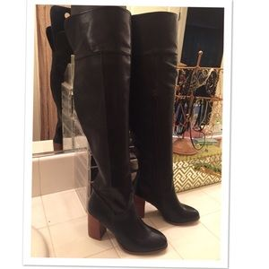 Trendy thigh high boots w/ faux wood heel. New